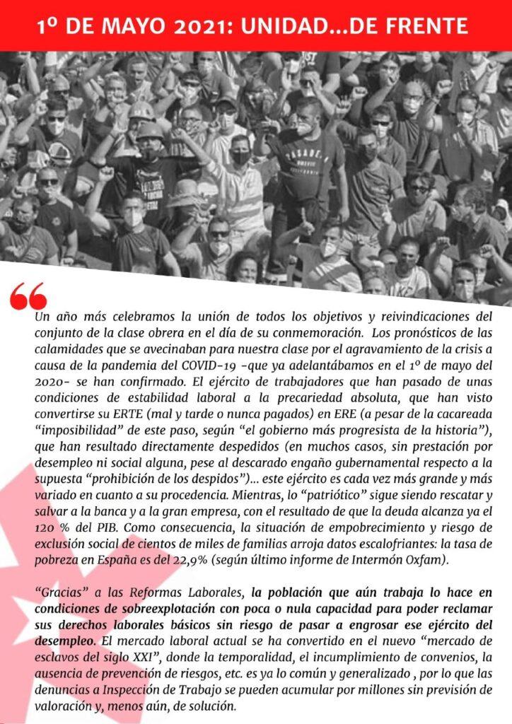 1º de Mayo: Unidad…de frente